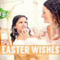 Composite image of happy mother and daughter painting easter eggs