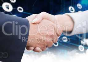 Composite image of business people doing handshake