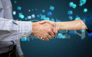 Composite image of male and female collegues shaking hands