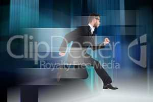 Composite image of geeky young businessman running mid air