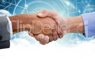 Composite image of male colleagues shaking hands