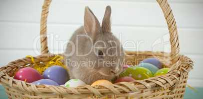 Colorful Easter eggs and Easter bunny in wicker basket