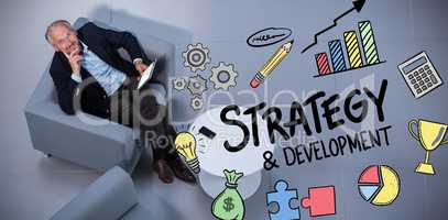 Composite image of strategy and development doodle