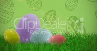 Composite image of big and small multi colored easter eggs