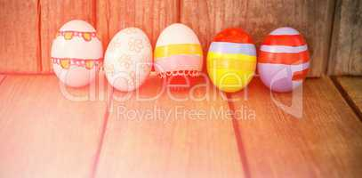 Painted Easter eggs arranged side by side