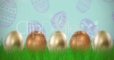 Composite image of shiny easter eggs arranged side by side