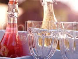 Delicious summer drinks in a garden