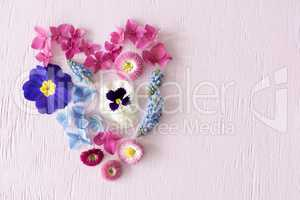 Vibrant Spring Flower Blossoms, Heart Shape, Copy Space