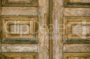 Fragment of a wooden brown old front door