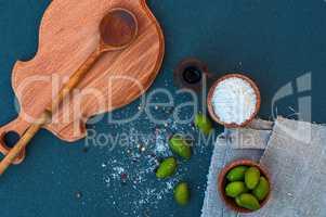 Green olives and white salt