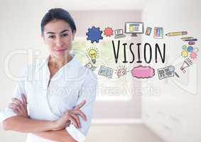 Powerful Woman with Vision text with drawings graphics