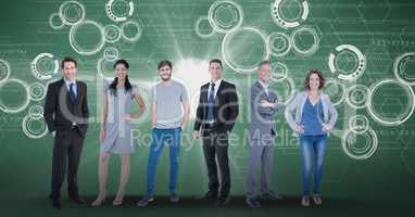 Digitally generated image of confident business people with tech graphics in background