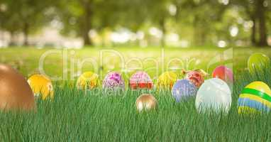 Easter eggs in the park.