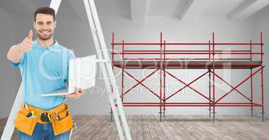 Builder with ladder and computer in font of 3D scaffolding