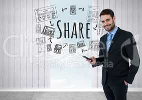 Businessman with phone and Share text with drawings graphics