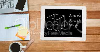 Directly above shot of formula in digital tablet with technologies and office supplies by coffee cup