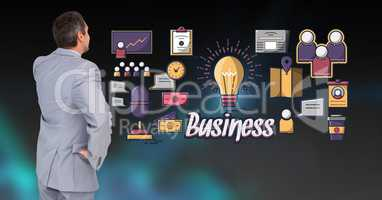 Digital composite image of businessman with idea icons and business text