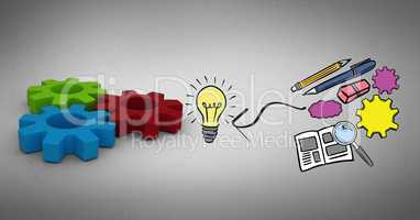 Digital composite image of stationery by light bulb and gears