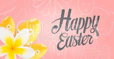 Grey type and yellow flower and eggs against pink easter pattern