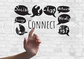 Hand touching Connect text with social media drawings graphics