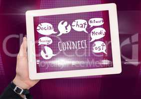 Hand with tablet and Connect text with drawings graphics