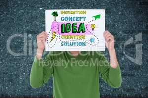Digital composite image of person holding business concept sign board