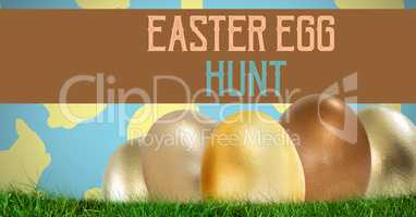 Easter Egg Hunt text with aster eggs in front of pattern
