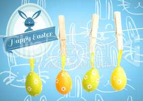 Happy Easter text with Easter Eggs on pegs in front of pattern