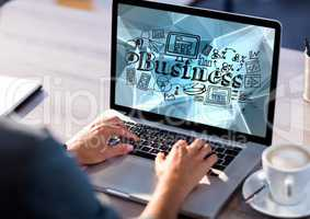 Hands on laptop with black business doodles against blue vector mesh