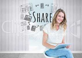 Woman with tablet and Share text with drawings graphics