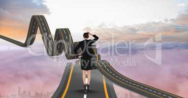 Digitally generated image of  businesswoman on wavy road in sky