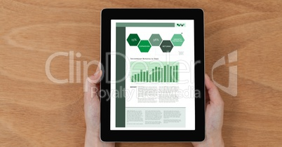 Hands Holding A Digital Touch Screen Tablet With Fresh