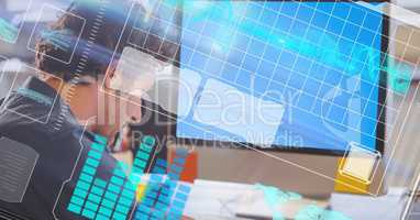 Digital composite image of businessman with LCD and futuristic screen