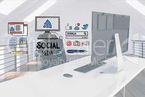 Digital composite image of social media signs over computer desk