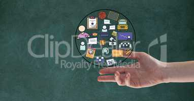 Digital composite image of hand with business signs in circle