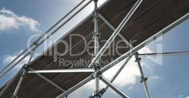 floor view of 3D scaffolding whit the sky