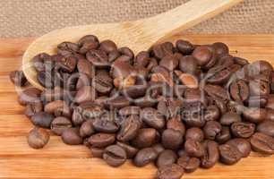 Coffee beans on a wooden lattice