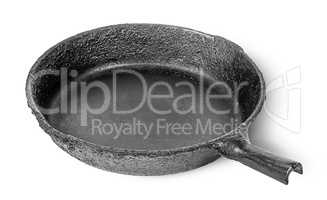 Empty old cast iron frying pan rotated