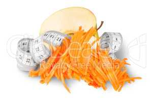 Half An Apple With Grated Carrots And Sewing Measuring