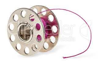 Metal spool with burgundy thread