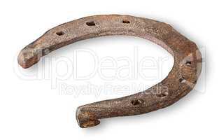 Old rusty horseshoe horizontally inverted