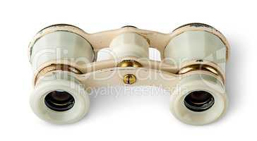 Old vintage pair of opera glasses horizontally