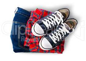 Shirt jeans and sports shoes