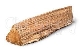 Single log of wood inverted horizontally