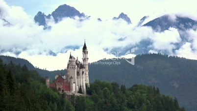 Neuschwanstein Castle and Clouds. Time Lapse