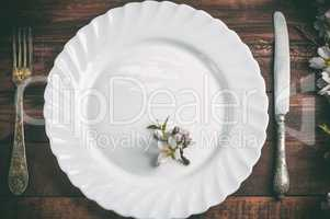 Empty plate with a fork and knife on a brown wooden surface