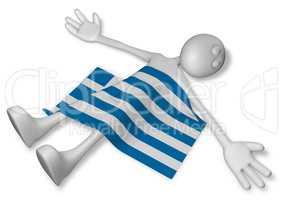 tote cartoonfigur und griechische flagge