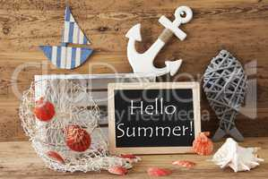 Chalkboard With Nautical Decoration, Text Hello Summer