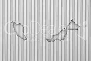Karte von Malaysia auf Wellblech