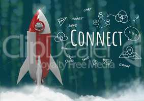 3D Rocket in forest with Connect text with drawings graphics
